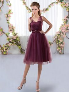Sleeveless Knee Length Appliques Zipper Quinceanera Court Dresses with Burgundy