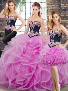 Tulle Sleeveless Sweet 16 Dresses Sweep Train and Beading and Embroidery and Ruffles