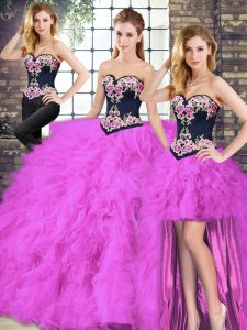 Flare Fuchsia Sleeveless Beading and Embroidery Floor Length Quinceanera Gown