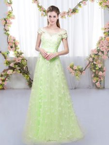 Customized Tulle Cap Sleeves Floor Length Damas Dress and Appliques