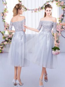 Grey Half Sleeves Lace Tea Length Dama Dress for Quinceanera