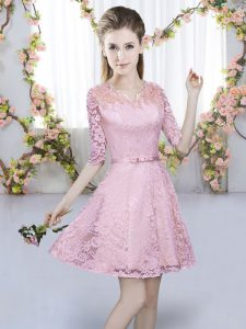 Custom Design Pink Half Sleeves Lace Zipper Court Dresses for Sweet 16 for Prom and Party