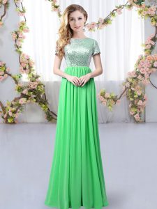 Glamorous Floor Length Zipper Vestidos de Damas Green for Prom and Party and Wedding Party with Sequins
