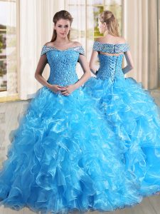 Organza Sleeveless Sweet 16 Quinceanera Dress Sweep Train and Beading and Lace and Ruffles