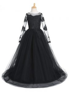 Black A-line Scoop Long Sleeves Tulle Brush Train Clasp Handle Lace Little Girls Pageant Gowns
