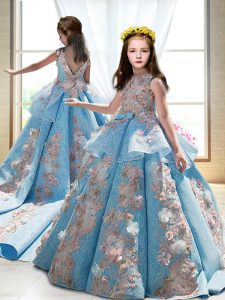 Dazzling Blue Ball Gowns Appliques Little Girl Pageant Gowns Backless Satin Sleeveless