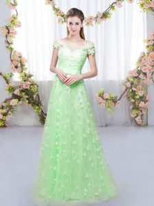 Lovely Cap Sleeves Lace Up Floor Length Appliques Quinceanera Court Dresses