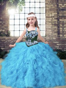 Baby Blue Ball Gowns Tulle Straps Sleeveless Embroidery and Ruffles Floor Length Lace Up Little Girl Pageant Gowns