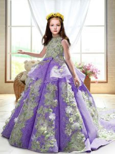 Super Lavender High-neck Neckline Appliques Little Girls Pageant Gowns Sleeveless Backless