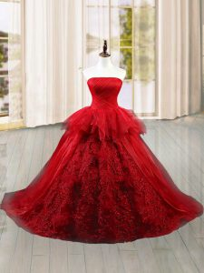 Strapless Sleeveless Brush Train Lace Up Sweet 16 Dress Wine Red Tulle