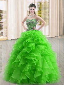Amazing Sweetheart Sleeveless 15 Quinceanera Dress Floor Length Beading and Ruffles Green Organza