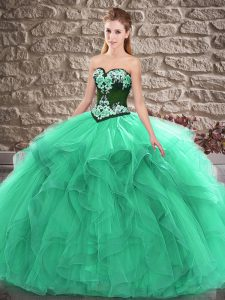Turquoise Sweetheart Lace Up Beading and Embroidery Vestidos de Quinceanera Sleeveless