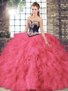 Floor Length Lace Up Sweet 16 Dresses Hot Pink for Sweet 16 and Quinceanera with Beading and Embroidery