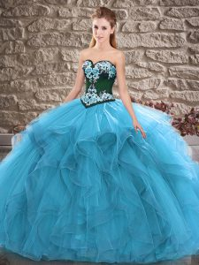 Sexy Blue Ball Gowns Sweetheart Sleeveless Tulle Floor Length Lace Up Beading and Embroidery Quinceanera Dresses