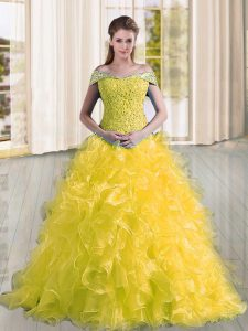 Yellow Lace Up Off The Shoulder Beading and Lace and Ruffles Sweet 16 Dress Organza Sleeveless Sweep Train