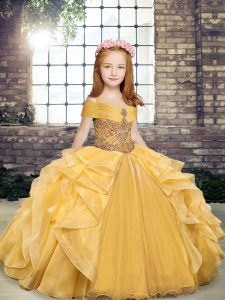 Ball Gowns Little Girls Pageant Dress Gold Off The Shoulder Organza Sleeveless Floor Length Lace Up