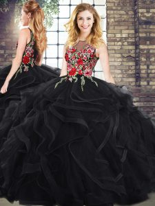 Stunning Black Ball Gowns Scoop Sleeveless Zipper Embroidery and Ruffles Quinceanera Gowns
