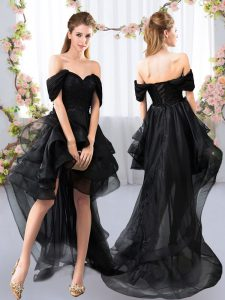 Black A-line Off The Shoulder Short Sleeves Tulle High Low Lace Up Lace and Ruffled Layers Quinceanera Court Dresses