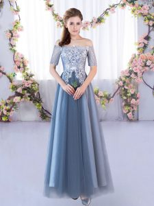 Eye-catching Blue Dama Dress for Quinceanera Prom and Party and Wedding Party with Lace Off The Shoulder Short Sleeves Lace Up