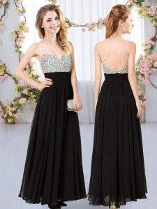 Black Sleeveless Beading Floor Length Quinceanera Court of Honor Dress