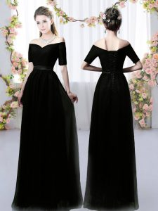 Empire Dama Dress for Quinceanera Black Off The Shoulder Chiffon Short Sleeves Floor Length Lace Up