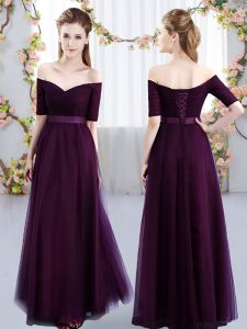 Dynamic Ruching Dama Dress Dark Purple Lace Up Short Sleeves Floor Length