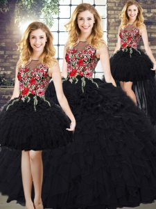 Scoop Sleeveless Zipper Quinceanera Dresses Black Organza