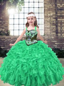 Green Pageant Gowns For Girls Party and Wedding Party with Embroidery and Ruffles Straps Sleeveless Lace Up