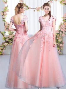 Pink Empire Beading and Appliques Quinceanera Court of Honor Dress Lace Up Tulle Cap Sleeves Floor Length