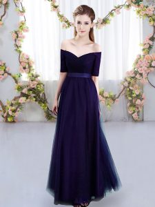 Excellent Floor Length Lace Up Quinceanera Court Dresses Purple for Prom and Party and Wedding Party with Ruching