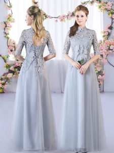 Grey Half Sleeves Floor Length Lace Lace Up Quinceanera Court Dresses