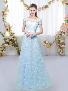 Edgy Blue Empire Appliques Quinceanera Court of Honor Dress Lace Up Tulle Cap Sleeves Floor Length