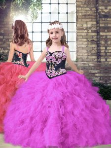 Trendy Tulle Sleeveless Floor Length Little Girls Pageant Gowns and Embroidery and Ruffles