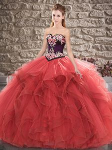 Tulle Sleeveless Floor Length Quinceanera Gowns and Beading and Embroidery