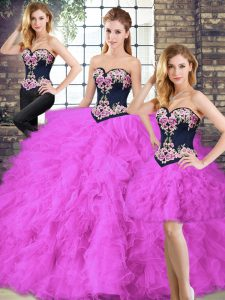 Floor Length Three Pieces Sleeveless Fuchsia Quinceanera Dresses Lace Up
