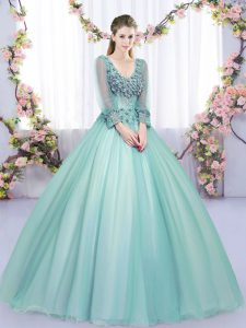 Apple Green Tulle Lace Up Quinceanera Gown Long Sleeves Floor Length Lace and Appliques