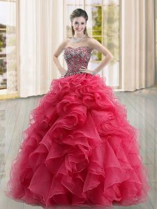 Cheap Coral Red Ball Gowns Organza Sweetheart Sleeveless Beading and Ruffles Floor Length Lace Up 15 Quinceanera Dress
