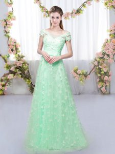 Admirable Apple Green Off The Shoulder Lace Up Appliques Quinceanera Court Dresses Cap Sleeves