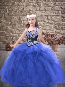 Floor Length Royal Blue Kids Pageant Dress Straps Sleeveless Lace Up