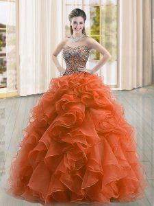 Rust Red Sleeveless Beading and Ruffles Floor Length Quince Ball Gowns