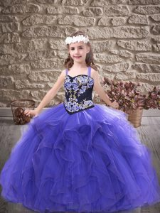 Purple Tulle Lace Up Kids Formal Wear Sleeveless Floor Length Embroidery and Ruffles