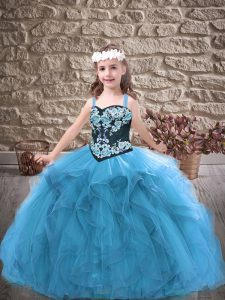 Embroidery and Ruffles Little Girl Pageant Gowns Baby Blue Lace Up Sleeveless Floor Length