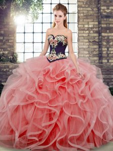 Low Price Tulle Sleeveless 15th Birthday Dress Sweep Train and Embroidery and Ruffles