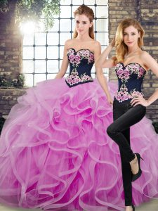 Lilac Tulle Lace Up Sweet 16 Dress Sleeveless Floor Length Sweep Train Embroidery and Ruffles