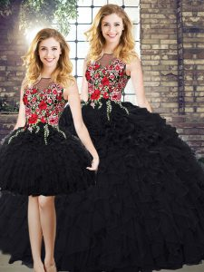 Scoop Sleeveless Zipper Sweet 16 Dresses Black Organza