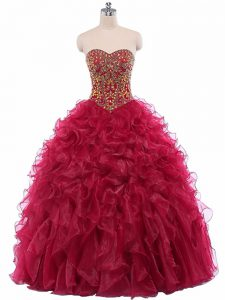 Cheap Sweetheart Sleeveless Organza 15 Quinceanera Dress Beading and Ruffles Lace Up