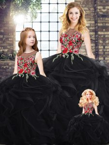 Admirable Black Sweet 16 Dresses Military Ball and Sweet 16 and Quinceanera with Embroidery and Ruffles Scoop Sleeveless Zipper