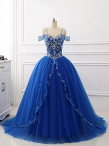 Sophisticated Royal Blue Sleeveless Tulle Brush Train Lace Up Quince Ball Gowns for Military Ball and Sweet 16 and Quinceanera