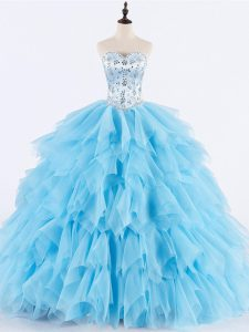 Perfect Tulle Sweetheart Sleeveless Lace Up Beading and Ruffles Sweet 16 Dresses in Baby Blue