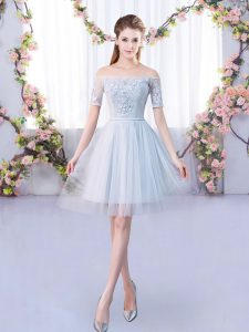 Clearance Tulle Off The Shoulder Short Sleeves Lace Up Lace Dama Dress for Quinceanera in Grey